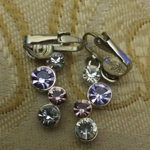 Vintage purple and silver tone earrings PM 642